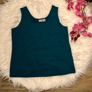 CHICO'S Stretch Nylon Teal Knit Cami Tank Top